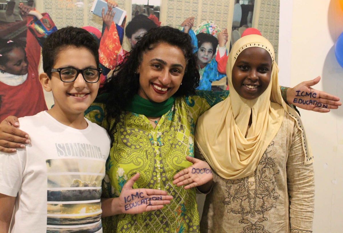 Samina with Muhammad and Faduma, the Somali girl whose education the Pakistani boy sponsored with the money set aside for his PlayStation.